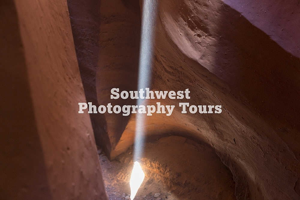 Spooky slot canyon light beam